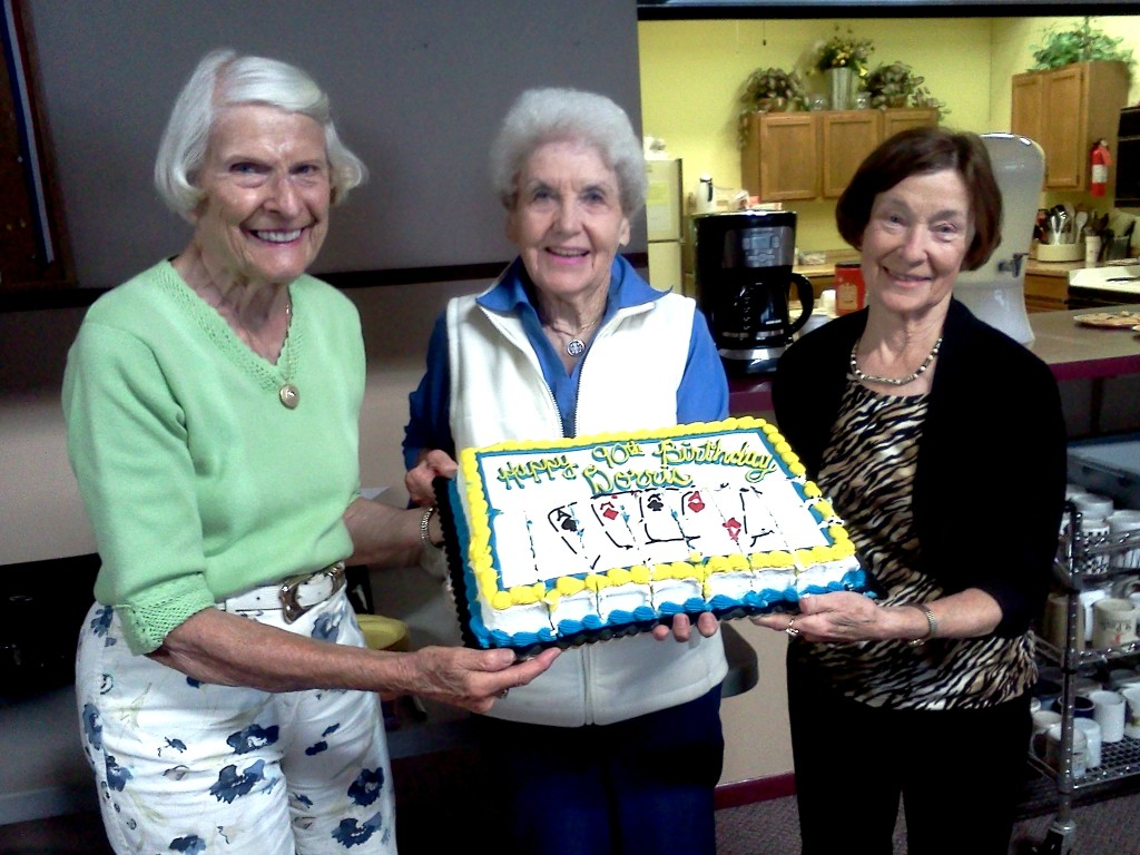From left to right: Char Pence, Birthday Girl Dorris Hotchkiss, Marion Engel